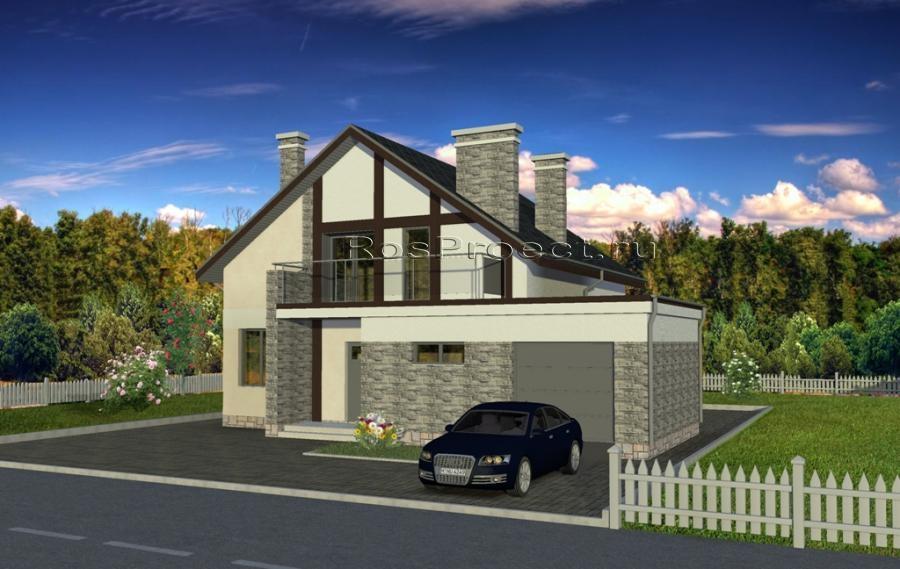 Дом с мансардой, гаражом, террасой и балконами rpg1081 в щер.